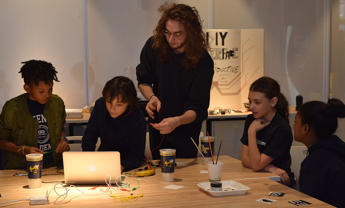 Students in a STEAM workshop